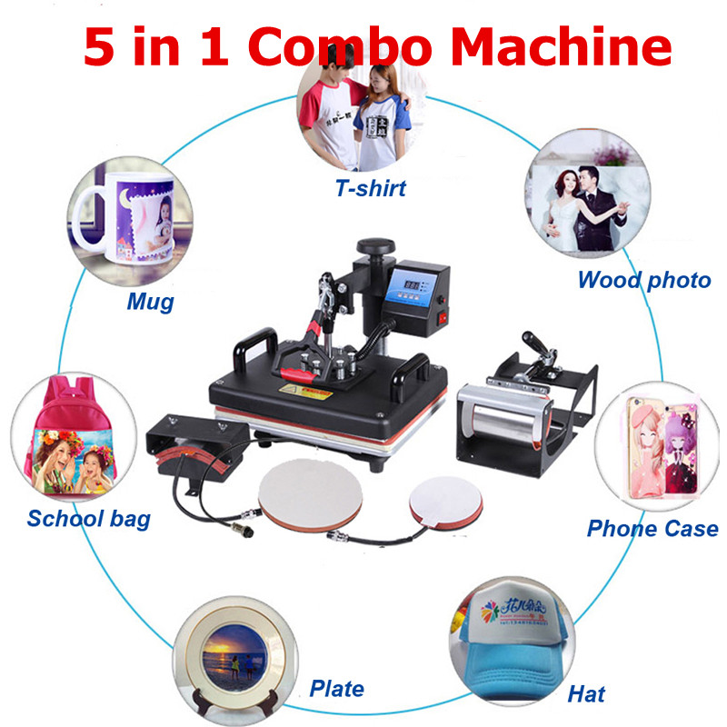 Promotions 30*38CM 5 in 1 Combo Hitze Presse Maschine 2D Sublimation Drucker Druckmaschine Tuch T-shirt Kappe becher Platten Fall