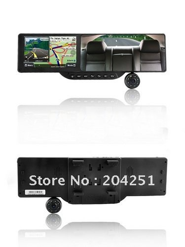 "5"" Resistive 720P 3MP CMOS Wide Angle Car DVR + WinCE 6.0 GPS Navigator + Rearview Mirror+Freeshipping"