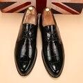 Los hombres zapatos de la marca de lujo zapatos de vestir de charol brillante unique bespoke hombres zapatos ballerina flats calzado zapatos oxford para los hombres