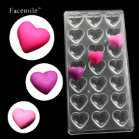 Loving Heart Shaped Candy Molds Polycarbonate Chocolate Mold Tray Pudding Mould Plastic Chocolate Tools 54010