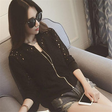 Shocking Show Women Stand Collar Long Sleeve Zipper Lace Cardigan Bomber Jacket