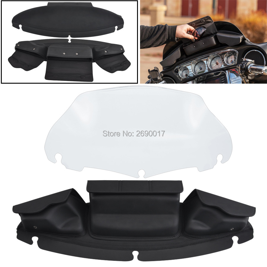 9 inch Clear Windshield Windscreen 3 Pocket Windshield Bag Fits For Harley Touring FLHX FLHT 14