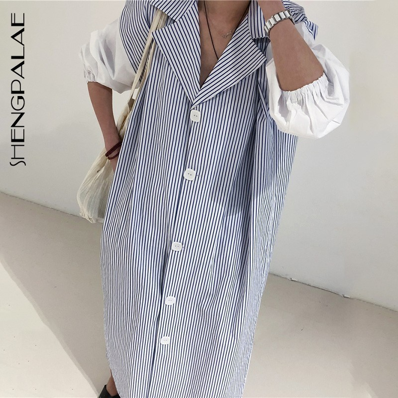 SHENGPALAE 2019 Spring Summer Big Turn down Collar Lantern Sleeve Vestidos Patchwork Striped Loose Plus Size Women Dress FQ075-in Dresses from Women's Clothing    1