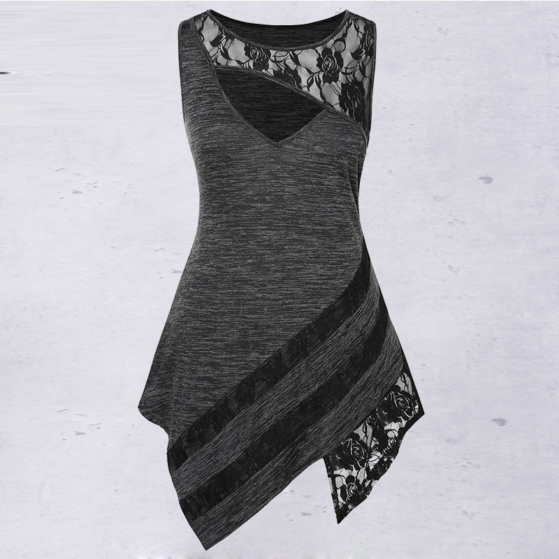 Rosegal Plus Size Lace Insert Cut Out Asymmetric   Tank     Top   Women Clothing Summer Round Collar Sleeveless   Tops   Big Size Pullovers