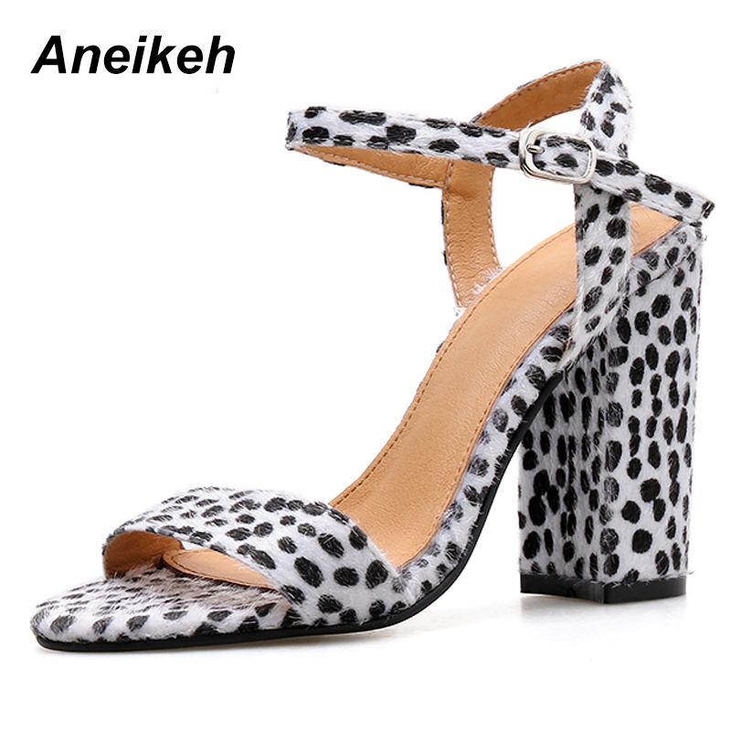 Aneikeh Ladies Sandals Round-Head High-Heels Thick Casual Autumn Feet Spring with 4-9