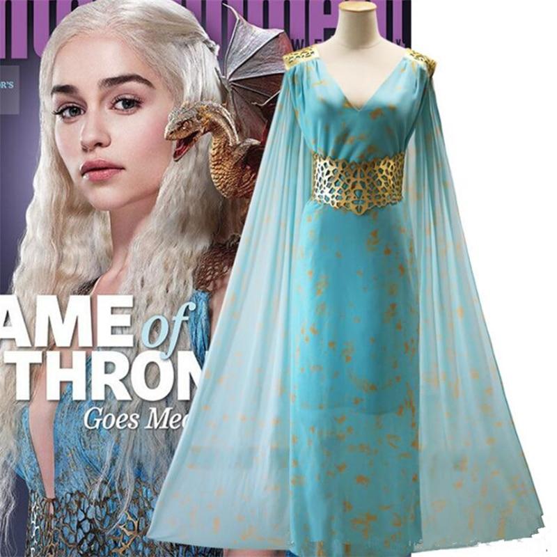 Movie Game of Thrones Daenerys Targaryen Blue beauteous Dress Dany Cosplay Costume Halloween Adult Dragon Mother Cloak Dresses