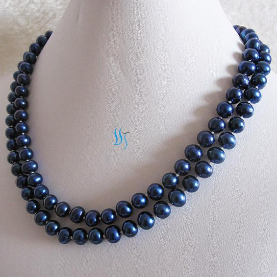 Real Long Pearl Necklace 37 inches 8-9mm Navy Freshwater Pearl Necklace New Free Shipping цена 2017