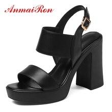 цены ANMAIRON  Genuine Leather  Basic  Casual  Woman Sandals 2019 Summer Platform  Buckle Strap  High Heels Sandals Size 34-40 LY1302