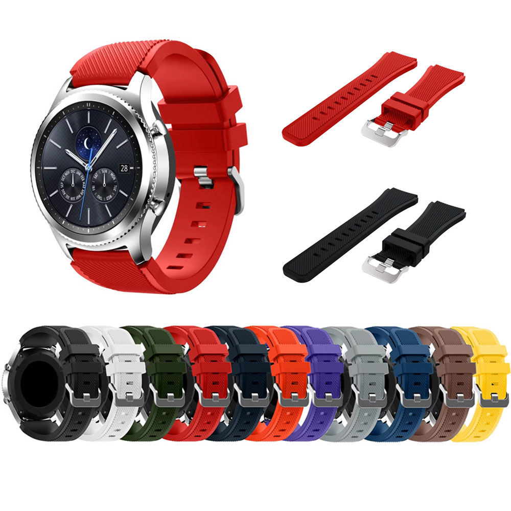 Gear S3 Frontier / Classic Watch Band, 22mm Soft Silicone Man Watch Replacement Bracelet Strap for Samsung Gear S3 tearoke 11 color silicone watchband for gear s3 classic frontier 22mm watch band strap replacement bracelet for samsung gear s3