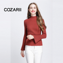 COZARII 2018 Pullovers Women Sweater plus size Basic Cotton Ribbed Tops Long Bell Sleeve Female 100kg Turtleneck pearl detail layered bell sleeve ribbed top