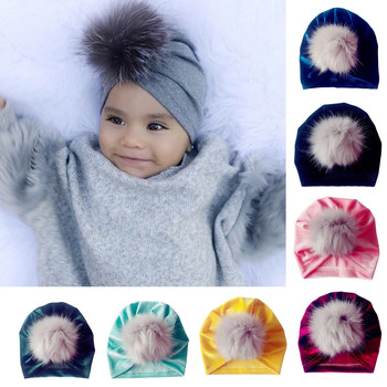 df5651283abd5c 1Pc Baby Hat Faux Fur Baby Cap Newborn Toddler Kid Venonat Turban Beanie Hat  Autumn Winter Warm Boy Girl Headwear Children's Hat – Thanks Australia