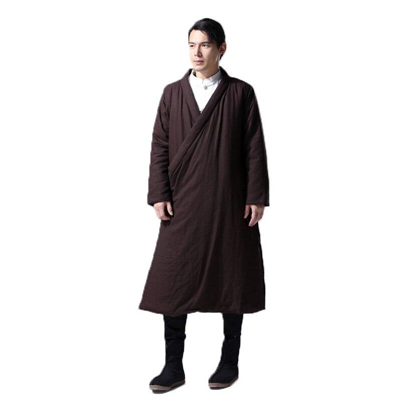 Hisenky hommes hiver Trenchcoat Style chinois Long coupe vent Hanfu Robes épais chaud manteau Vintage coton rembourré vestes 4 couleurs - 3