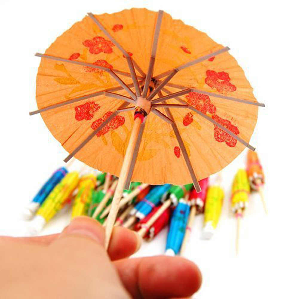 10pcs Drink Accessory Umbrella-shaped Bamboo Sticks Snack Cake Fruit Cocktail Sign Umbrella Sign Dinner Party Decoration