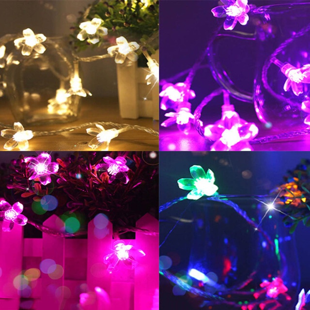 new multi 10m 100 led cherry blossoms peach flower string fairy christmas light battery operated
