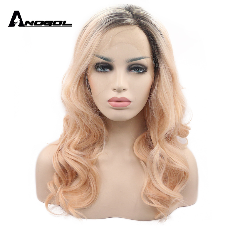 Anogol High Temperature Fiber U Part Orange Wig Long Body Wave Black Ombre Pink Synthetic Lace Front Wig For Women Cosplay