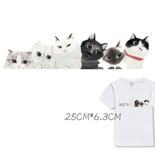 Cute Cat Patch Cartoon Parches Ironing Stickers Heat Transfer Iron on Patches for Clothing Diy A-plus Washable Appliques Animals