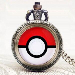 Карманные часы в античном стиле, милый дизайн Pokemon, Пикачу, бронзовые, кварцевые, брелок, часы для мальчиков и девочек, изысканный кулон, подарок с ожерельем, Chian