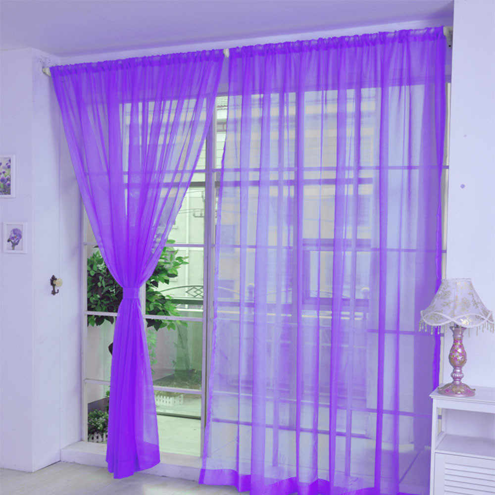 Pure Color Tulle Door Window Curtain 200cm x 100cm Drape Panel Sheer Scarf Valances Roller Blinds Hot Sale Drop Ship D