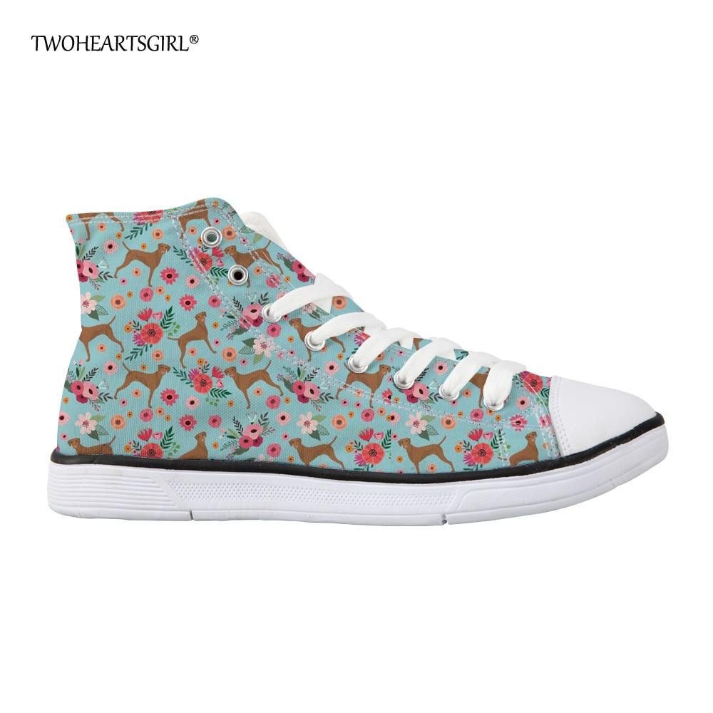 Twoheartsgirl dihanje s cvetličnim slogom platnene čevlje za - Ženski čevlji