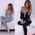 Женщины Моды V-образным Вырезом Толстовка Set Top Брюки Повседневная Sportsuit костюм Наряд