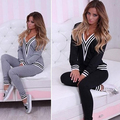 Women Fashion V-neck Sweatshirt Set Top Pants Casual Sportsuit Tracksuit Outfit