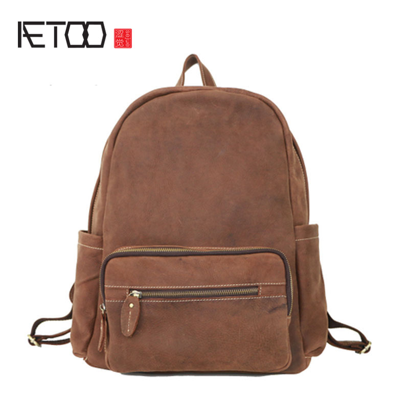 AETOO Crazy horse leather backpack male travel bag large capacity travel travel leather retro simple casual shoulder bag youth t aetoo crazy horse skin large capacity shoulder bag male imports the first layer of leather handmade backpack female travel bag