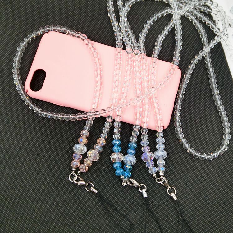 Id Card Beads: Long Charm Crystal Neck Strap Key/ID Card Badge Chain