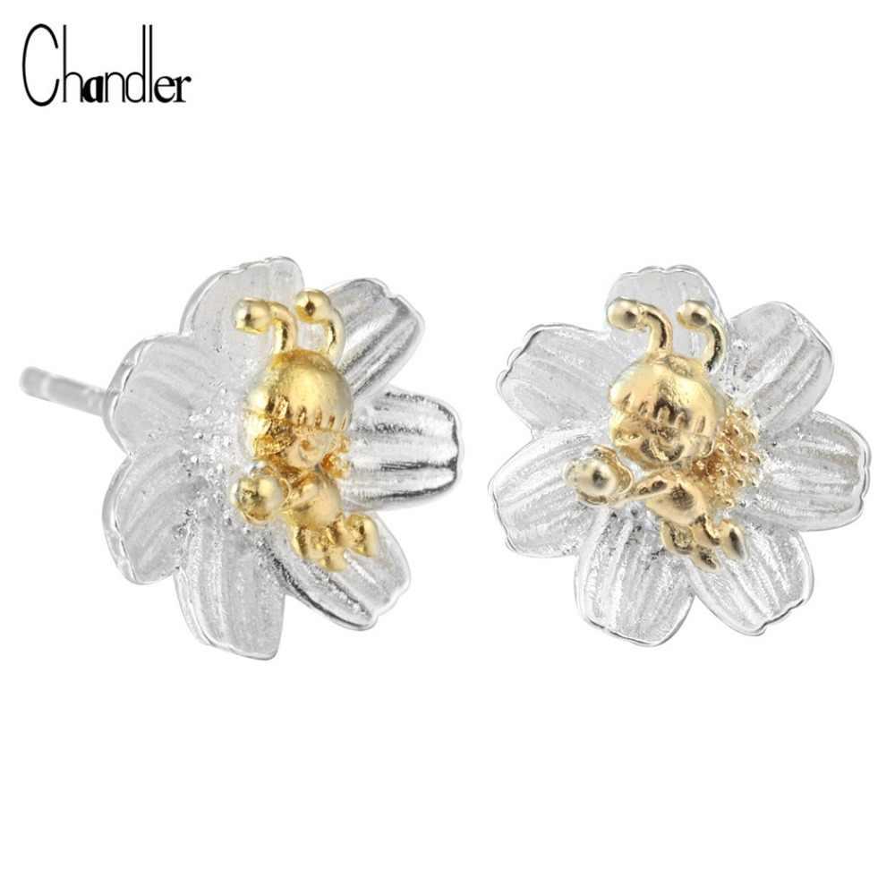 Chandler Цветущий цветок милые серьги-гвоздики Золотая Пчела Brincos для женщин девочек невесты Свадебные украшения подарки