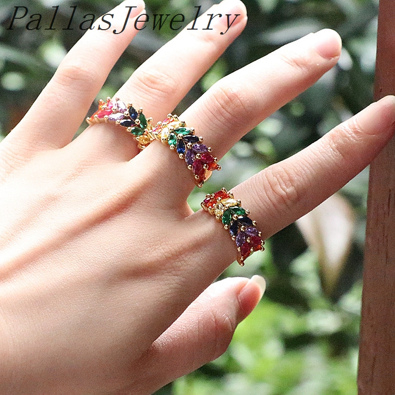New Fashion 8Pcs women finger rainbow cz paved band rings for wedding party engagement colorful band