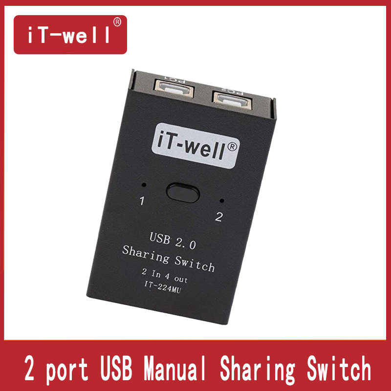 USB 2.0 Manual Sharing Switch 2 Computers Sharing 4 Devices Peripheral Switcher Box Hub Mouse, Keyboard, Scanner, Printer, PC