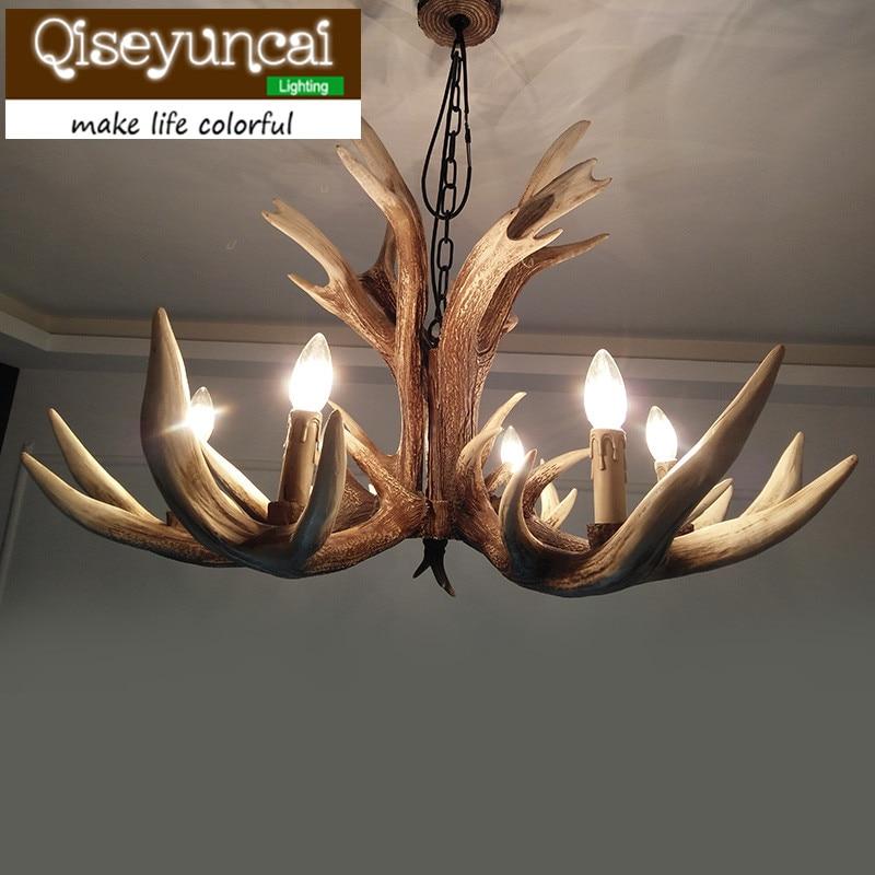 Qiseyuncai American country villa, 6 head antlers chandelier creative retro bedroom living room restaurant resin lighting