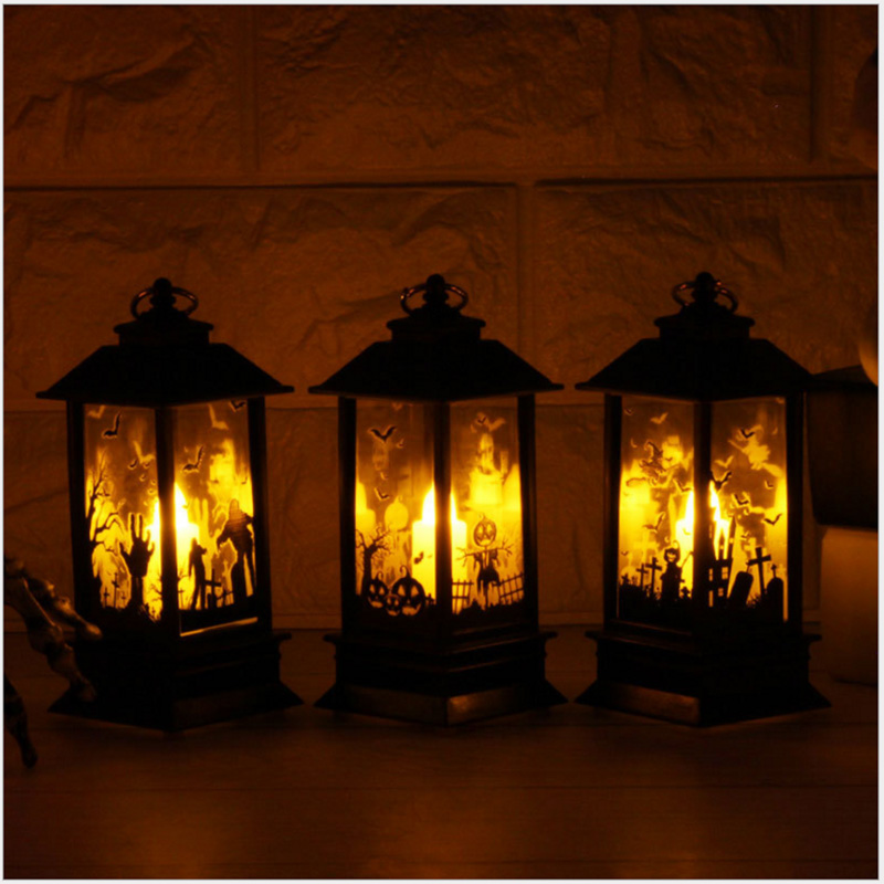 LED Lantern Halloween Lamp Hanging Candlelight Light For Home Vintage Retro Holiday Festival Xmas Decoration Indoor Outdoor Lamp