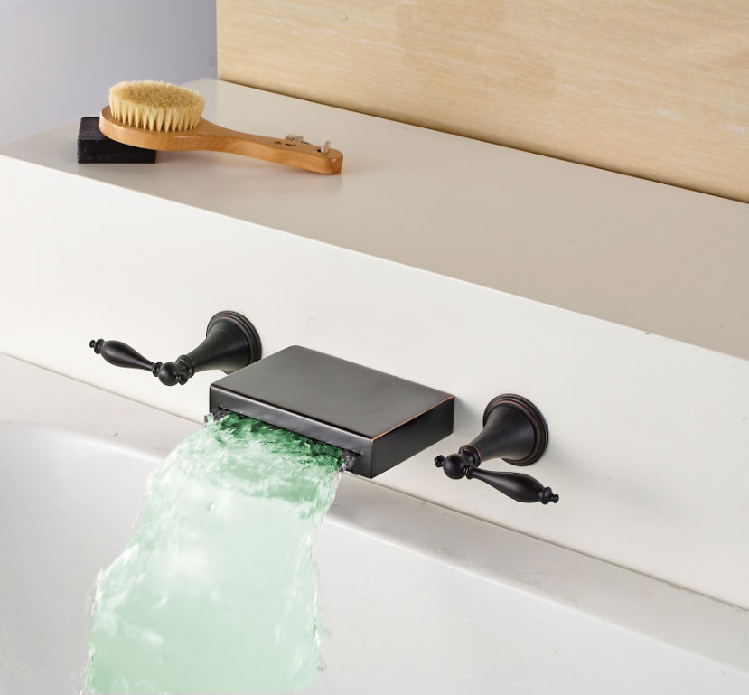 LED Color Changing Oil Rubbed Bronze Basin Faucet Dual Levers Mixer Tap