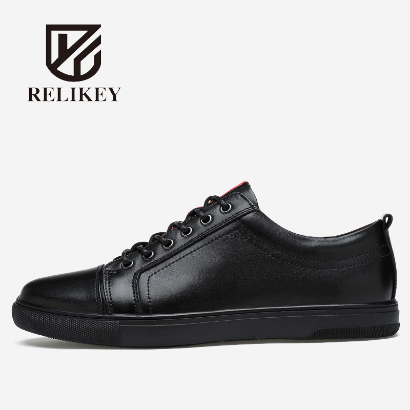 RELIKEY Brand Men Casual Shoes Genuine Cow Leather Top Quality Classics White Male Flats Waterproof Leisure Design Shoes for Men cbjsho brand men shoes 2017 new genuine leather moccasins comfortable men loafers luxury men s flats men casual shoes