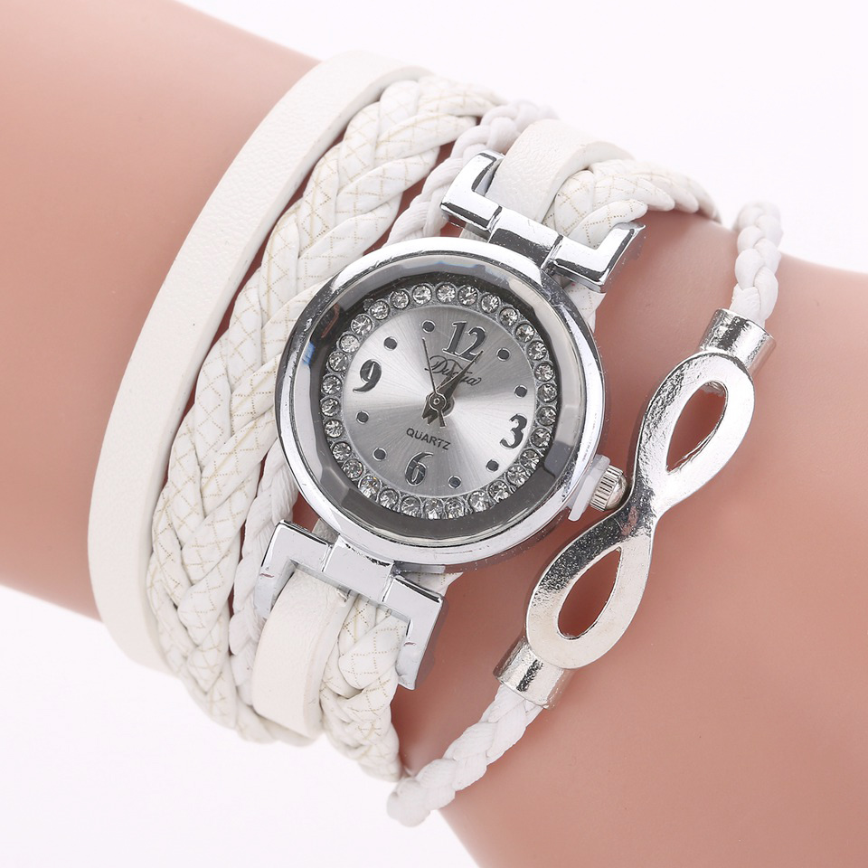 Women Watches 2019 Relogio Feminino PU Leather Rhinestone Weave Chain Quartz Wristwatch Bracelet Watch Women Montre Femme Gift(China)
