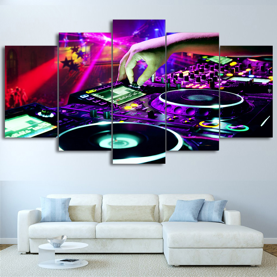 Wall Art Canvas Living Room Pictures Modular Poster Home 5 Panel Bar DJ Music Framework HD Printed Modern Painting Decoration in Painting Calligraphy from Home Garden