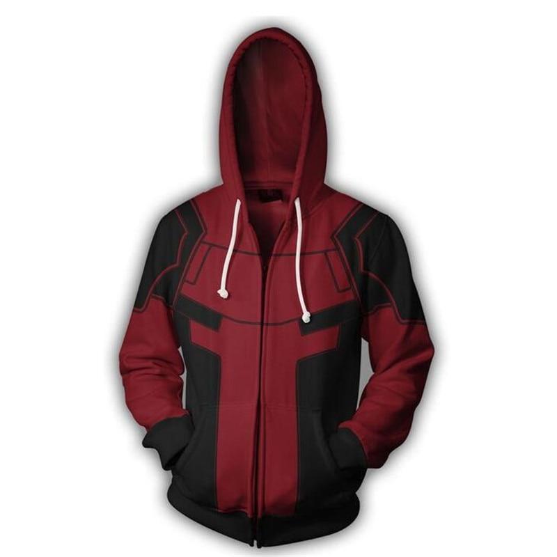 Men Clothing Superhero Movie Deadpool Cosplay Hoodies 3D Printing Sleeve Zippers Sweatshirts Coat Fashion