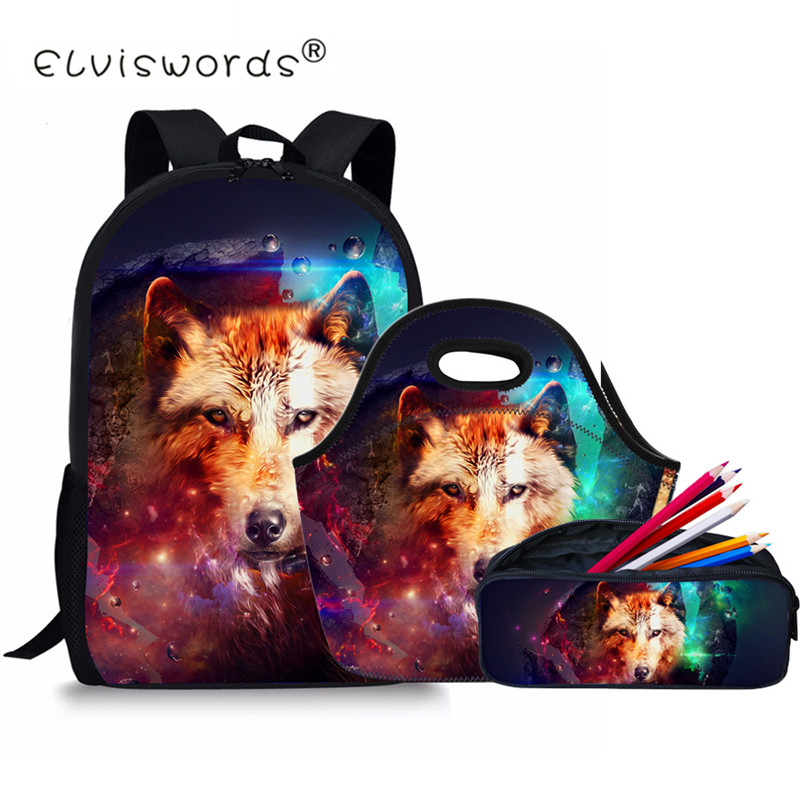 ELVISWORDS Cool Wolf Printing Satchel Kids School Bags 3 Set /Pcs Boys Orthopedic Bags for Children Schoolbag Girls Mochilas