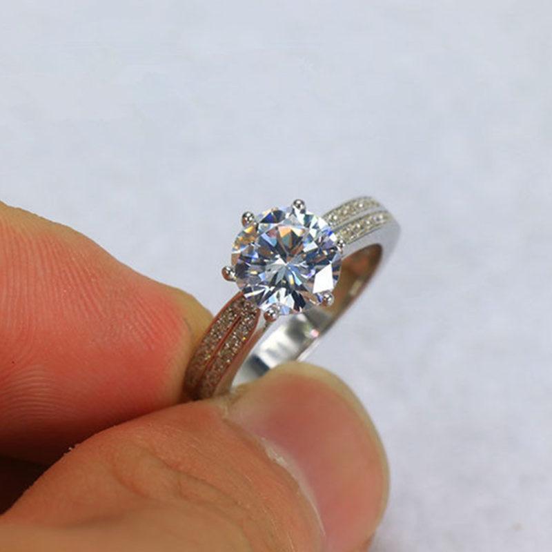 1.0/2.0 ct синтетических алмазов Серебро 925 Обручальное Обручение кольцо Для женщин рос ...