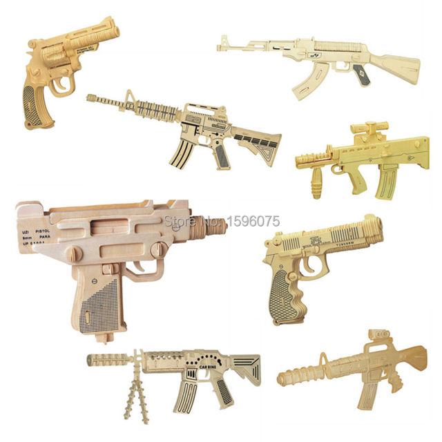 3D wooden gun army fans  Military enthusiasts jigsaw puzzle toy educational wooden toys for DIY handmade puzzles Weapon series