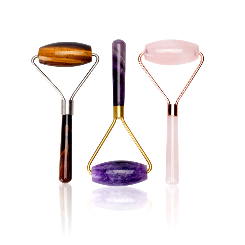 Großhandel Rose Quarz Roller Abnehmen Gesicht Massager Hautpflege Jade Rollen GuaSha Schaben Werkzeug Zurück Neck Massage & Entspannung