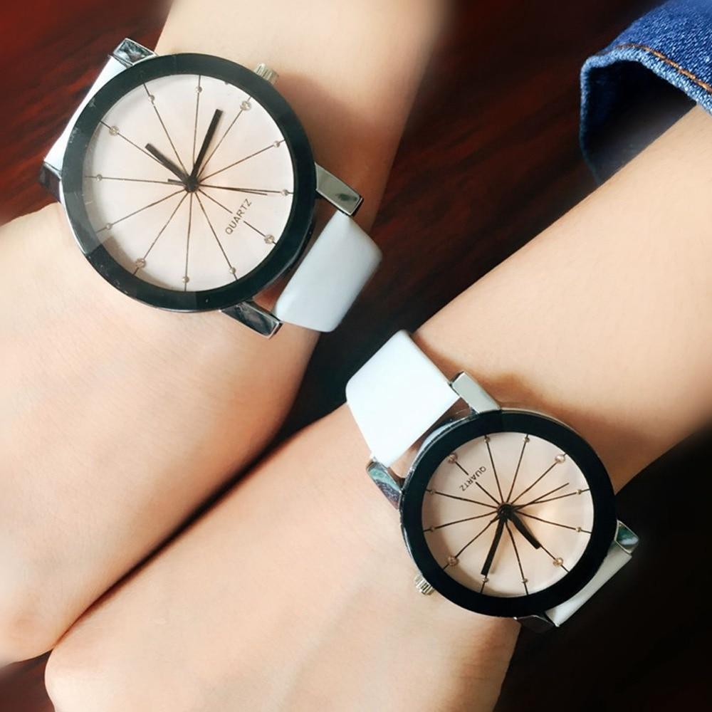 Lover's Watch kol saat Delicate PU Band Quartz Wristwatch Women Men Casual Dress Watch Montre Femme Relogio Couple Wrist Watches