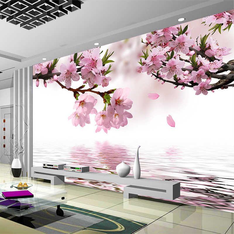 رومانسية الخوخ زهر انعكاس صورة جدارية خلفية غرفة المعيشة غرفة الطعام ديكور المنزل غير المنسوجة Papel دي Parede الأزهار 3D