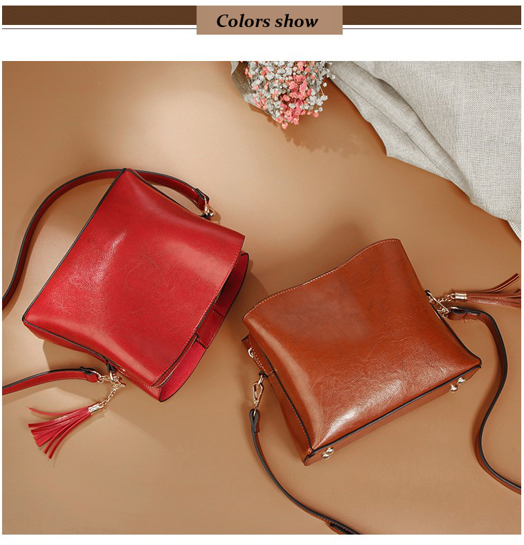 Bags Women Messenger Shoulder Bags Bucket Small Crossbody Bag For Women Retro Vintage PU Leather Handbags Tassel C240