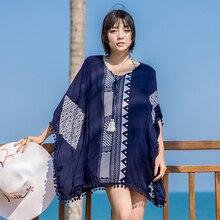 Пляжный праздничный бикини блузка свободный большой размер вышитый горячий весенний купальный костюм вне солнца свободный женский темперамент