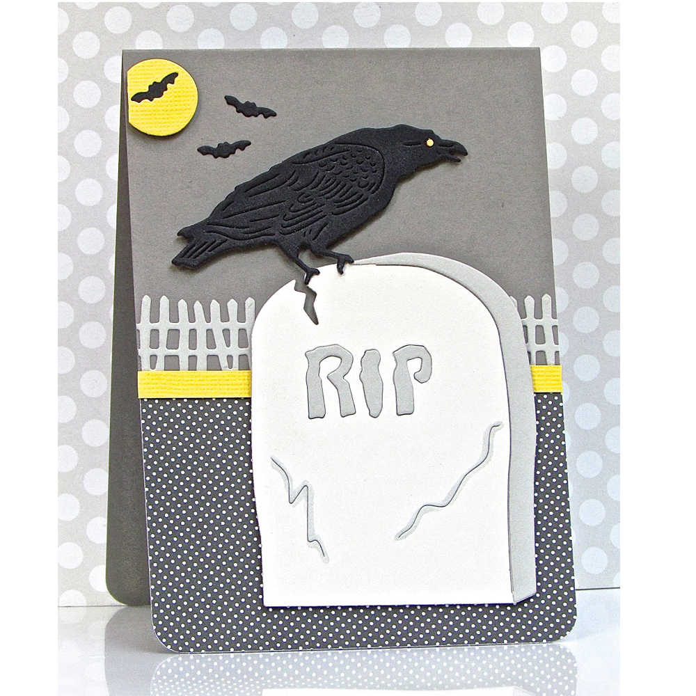 Detail Feedback Questions About Halloween Crow On Tombstone Metal