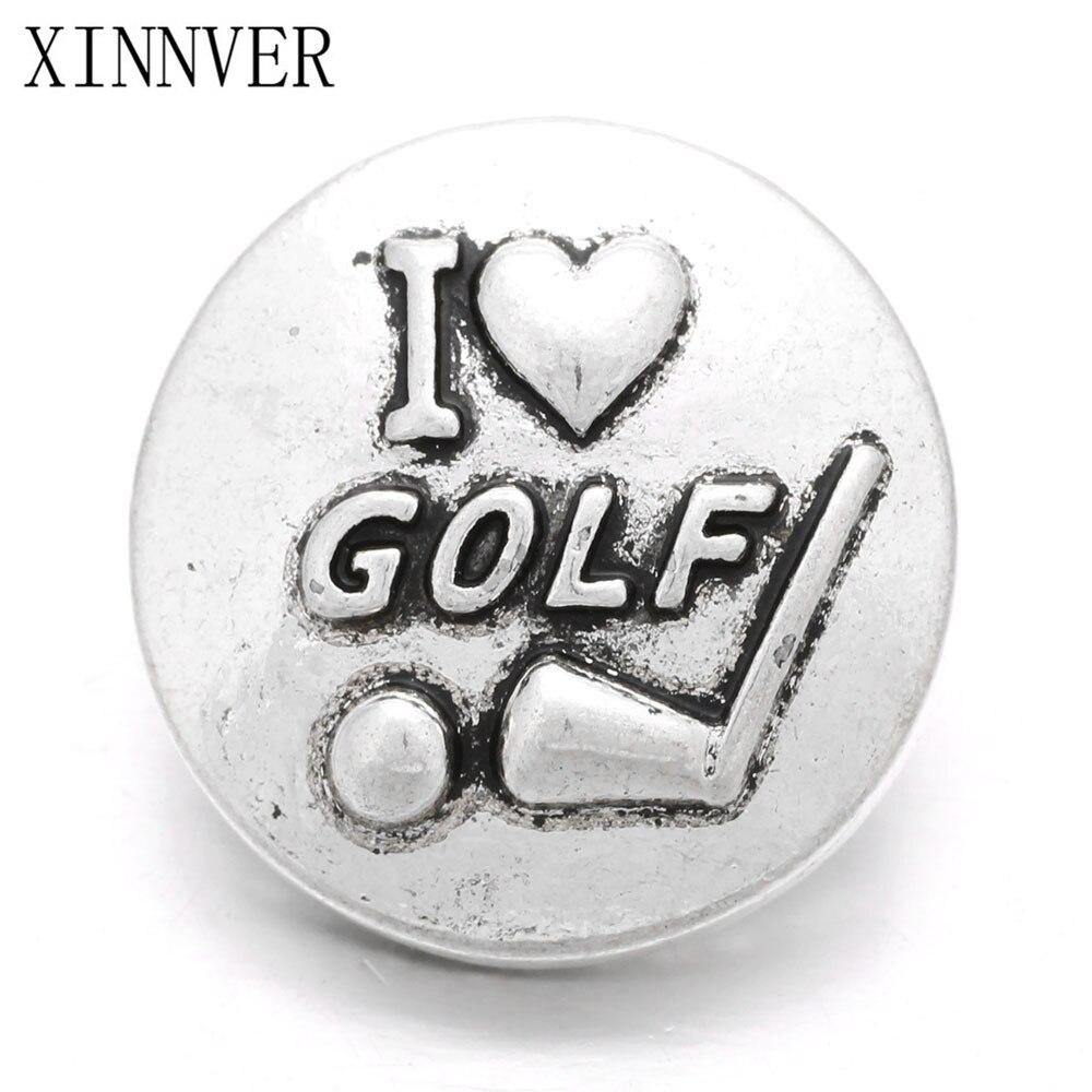 2Pcs/lot I Love Golf Design Xinnver Snaps Metal Button Fit 18mm Snaps Button Bracelet For Women Jewelry DIY Accessories ZA551