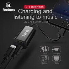 BASEUS 2 в 1 двойной 8pin Женский Кабель-адаптер для iPhone 7 6 6 S плюс Splitter AUX аудиокабель для вызова и зарядки и данных и музыка