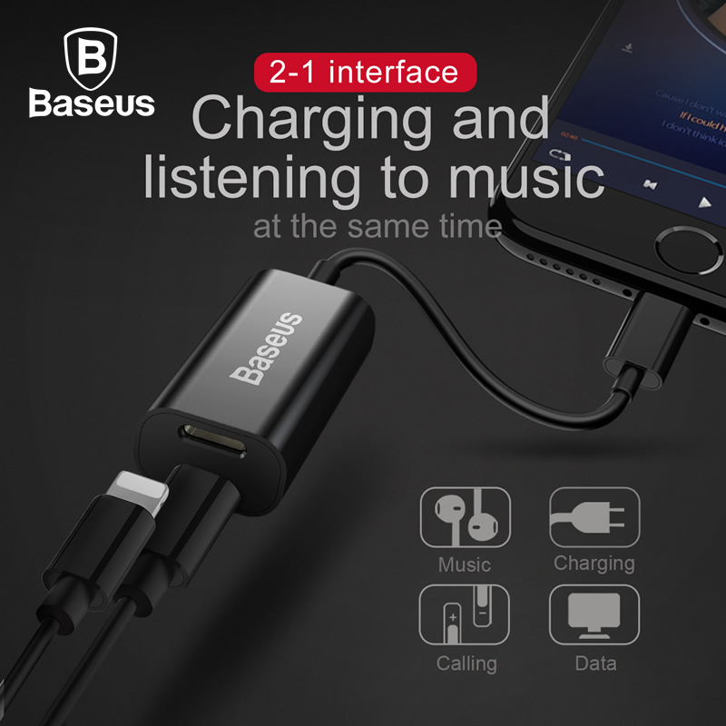 Baseus 2 in 1 Dual 8pin Female Headphone Adapter Cable For iPhone X 8 7 6 6s Plus Splitters Data Sync Charging Aux Audio Cable