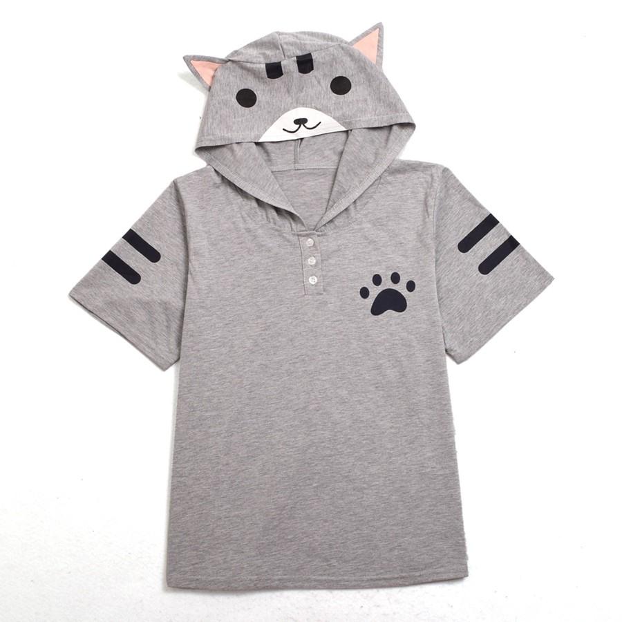 Cat Pattern Ears Hooded Shirt (13)